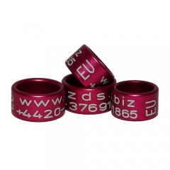 RING personalized ALUMINIUM laser engraved, color RED