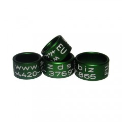 RING personalized ALUMINIUM laser engraved, color GREEN