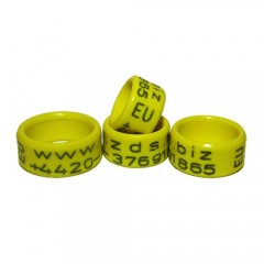 RING personalized PLASTIC laser engraved, color YELLOW