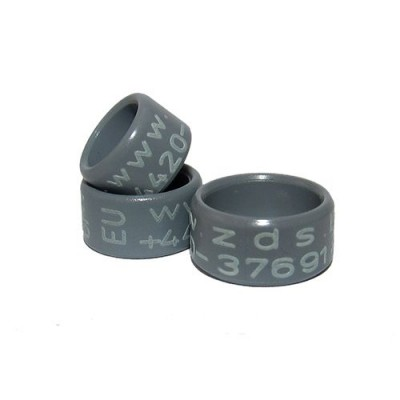 RING personalized PLASTIC laser engraved, color GREY